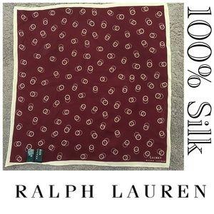 Ralph Lauren Silk Maroon Square Scarf